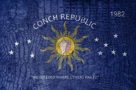 conch: Flag of the Conch Republic (Key West, Florida), on a luxurious, fashionable canvas Stock Photo