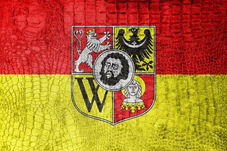 wroclaw: Flag of Wroclaw with Coat of Arms, Poland, on a luxurious, fashionable canvas