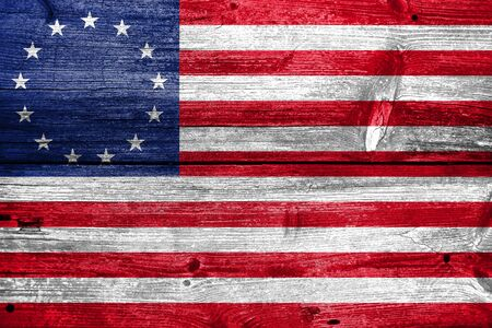 wooden board: Betsy Ross Flag, painted on old wood plank background Stock Photo