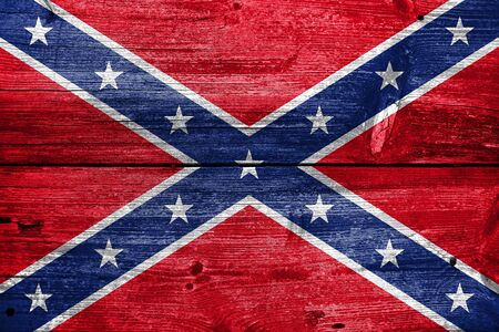 painted wood: Confederate Flag, painted on old wood plank background