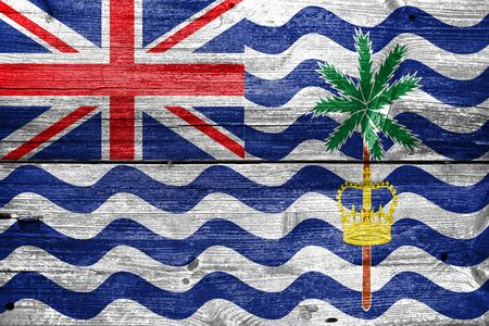 indian ocean: Flag of British Indian Ocean Territory, painted on old wood plank background Stock Photo