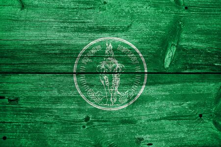 education policy: Flag of Bangkok, painted on old wood plank background