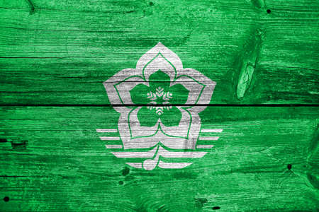 far east: Flag of Harbin, China, painted on old wood plank background Stock Photo