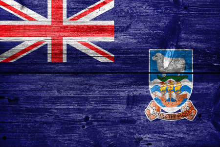 education policy: Flag of Falkland Islands, painted on old wood plank background Stock Photo