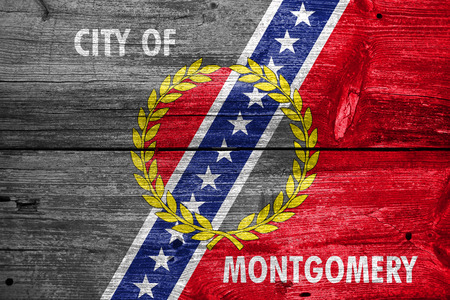 montgomery: Flag of Montgomery, Alabama, painted on old wood plank background Stock Photo