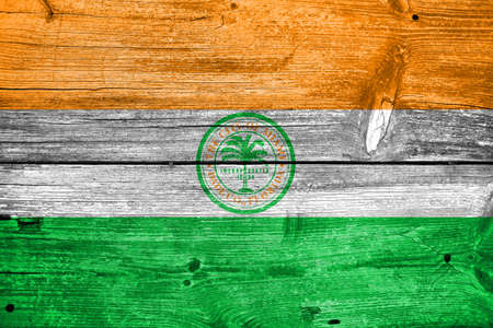 painted wood: Flag of Miami, Florida, painted on old wood plank background