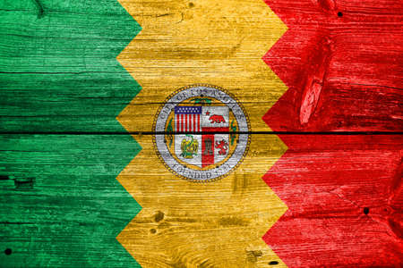 angeles: Flag of Los Angeles, California, painted on old wood plank background
