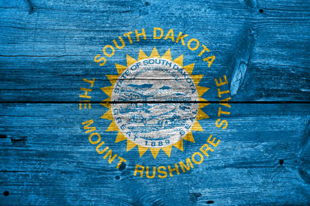 south dakota: Flag of South Dakota State, painted on old wood plank background