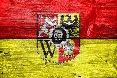 wroclaw: Flag of Wroclaw with Coat of Arms, Poland, painted on old wood plank background