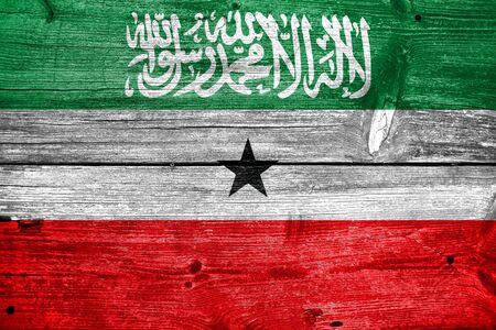 painted wood: Flag of Somaliland, painted on old wood plank background