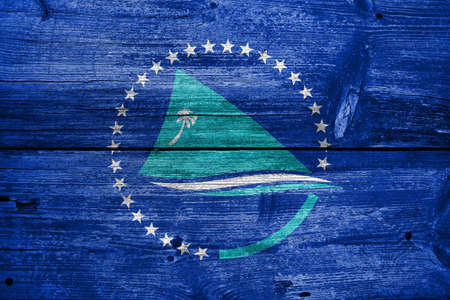 pacific: Flag of the Pacific Community, painted on old wood plank background Stock Photo