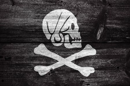 henry: Henry Every Pirate Flag, painted on old wood plank background