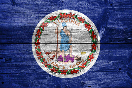 commonwealth: Flag of the Commonwealth of Virginia, painted on old wood plank background
