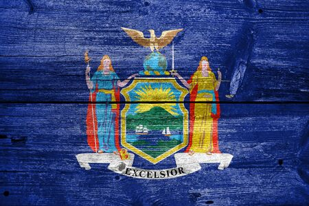 old new york: Flag of New York State, painted on old wood plank background