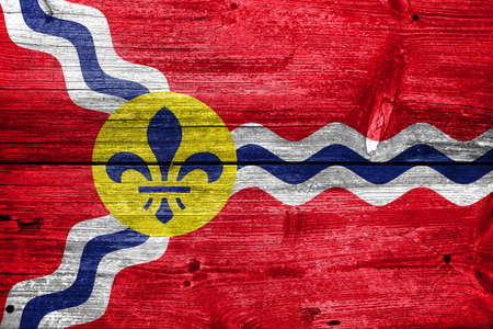 st louis: Flag of St. Louis, Missouri, painted on old wood plank background Stock Photo
