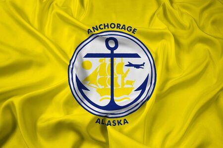 alaska: Waving Flag of Anchorage, Alaska