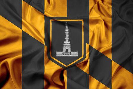 maryland: Waving Flag of Baltimore, Maryland Stock Photo