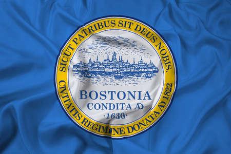 massachusetts: Waving Flag of Boston, Massachusetts Stock Photo