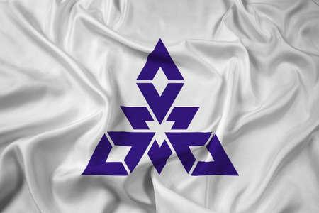 far east: Waving Flag of Fukuoka, Japan Stock Photo