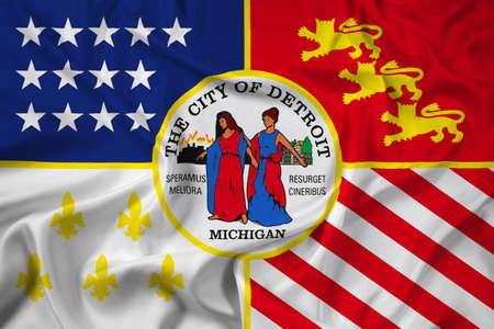 michigan: Waving Flag of Detroit, Michigan