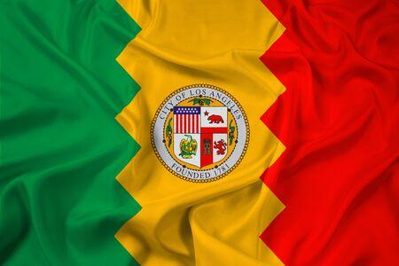 los angeles: Waving Flag of Los Angeles, California Stock Photo