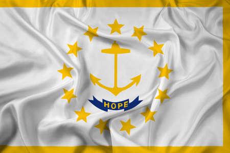 new england: Waving Flag of Rhode Island