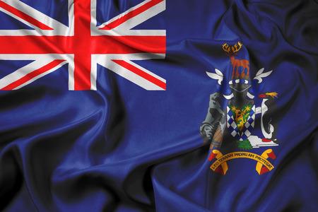 south georgia: Waving Flag of South Georgia and the South Sandwich Islands Stock Photo