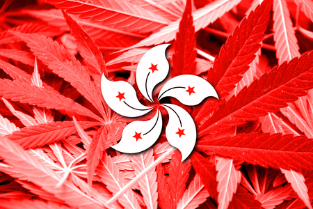 legalization: Flag of Hong Kong, on cannabis background