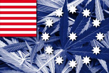 drug dealers: Flag of Easton, Pennsylvania, on cannabis background