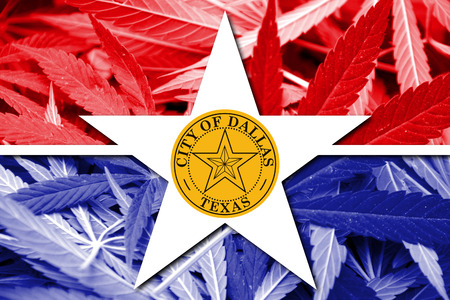 smuggling: Flag of Dallas, Texas, on cannabis background