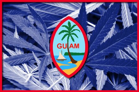 unincorporated: Flag of Guam, on cannabis background