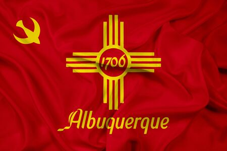 new mexico: Waving Flag of Albuquerque, New Mexico Stock Photo