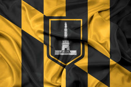 baltimore: Waving Flag of Baltimore, Maryland Stock Photo