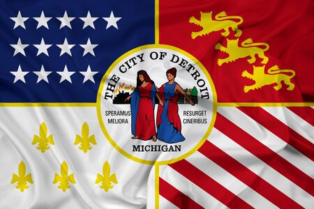 michigan flag: Waving Flag of Detroit, Michigan