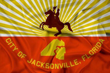 jacksonville: Waving Flag of Jacksonville, Florida Stock Photo