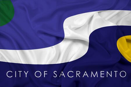 education policy: Waving Flag of Sacramento, California Stock Photo