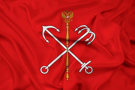 saint petersburg: Waving Flag of Saint Petersburg