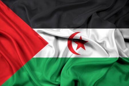 sahrawi arab democratic republic: Waving Flag of Sahrawi Arab Democratic Republic