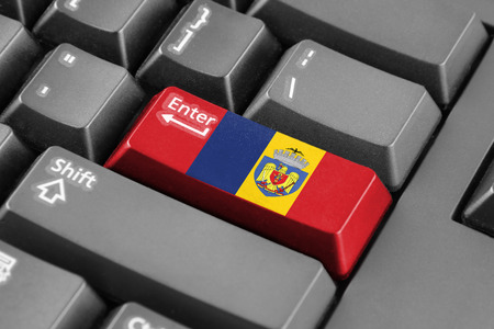 enter button: Enter button with Flag of Bucharest