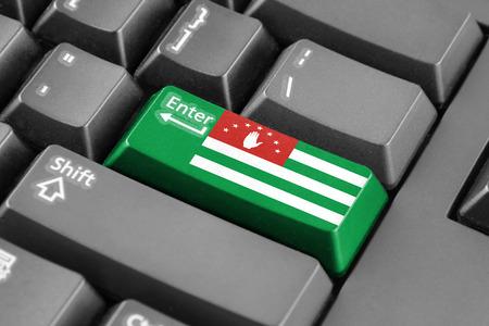 abkhazia: Enter button with Flag of Abkhazia Stock Photo