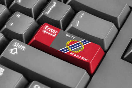 montgomery: Enter button with Flag of Montgomery, Alabama Stock Photo