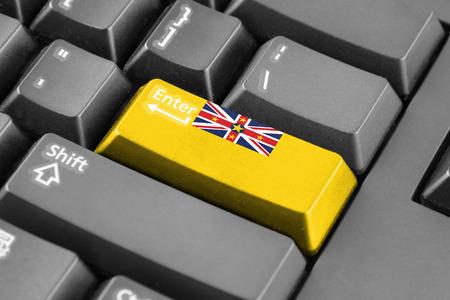 niue: Enter button with Flag of Niue Stock Photo