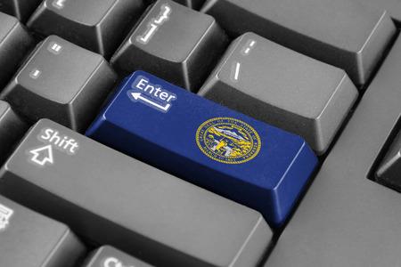 enter button: Enter button with Flag of Nebraska State