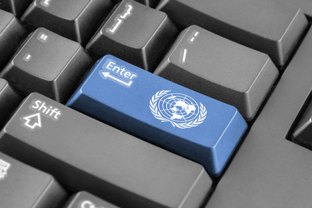 united nations: Enter button with Flag of United Nations Stock Photo