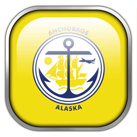 anchorage: Flag of Anchorage, Alaska, square glossy button