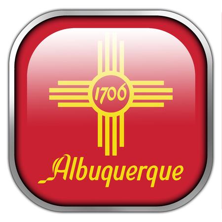 albuquerque: Flag of Albuquerque, New Mexico, square glossy button