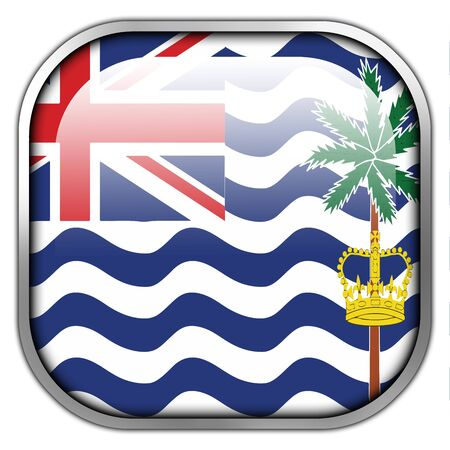 indian ocean: Flag of British Indian Ocean Territory, square glossy button