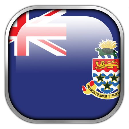 cayman islands: Flag of Cayman Islands, square glossy button Stock Photo