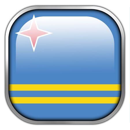 carribean: Flag of Aruba, square glossy button Stock Photo