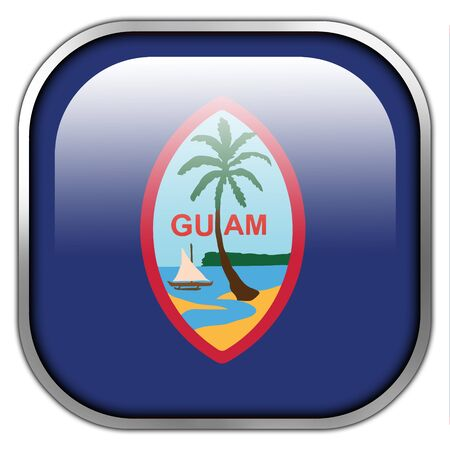 unincorporated: Flag of Guam, square glossy button
